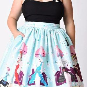 Unique Vintage Beauty Salon Swing Skirt Size 18
